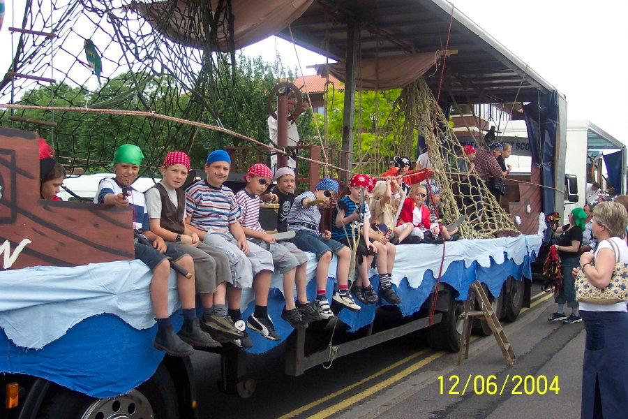 Scouts on the winning float at the 2004 Maidenhead Carnival. The design took on a swashbuckling pirate theme.
