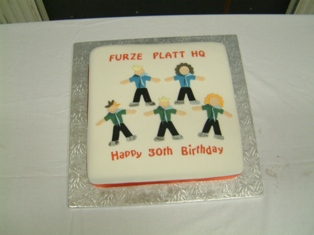 A cake made to mark the thirtieth birthday of the Furze Platt Scout Group headquarters, celebrated in September 2007.