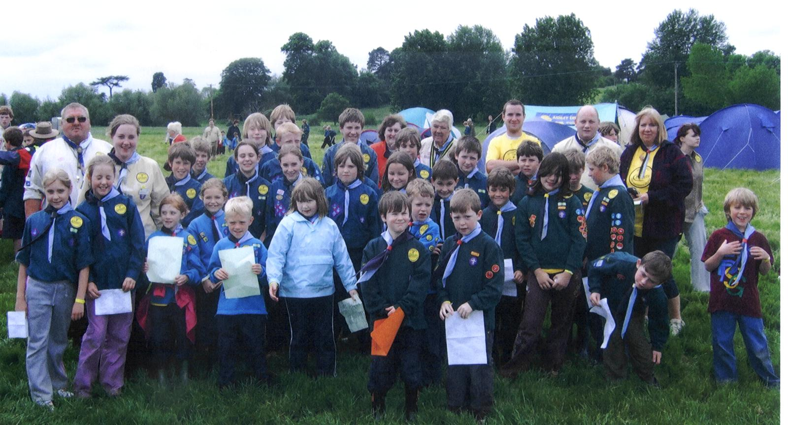 Furze Platt's contingent at the 2007 Maidenhead & District centenary camp, held in Cookham to mark the hundredth anniversary of the birth of Scouting.